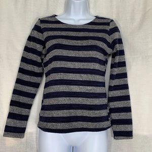 Sweaters - Grey And Blue Crewneck Knit Sweater